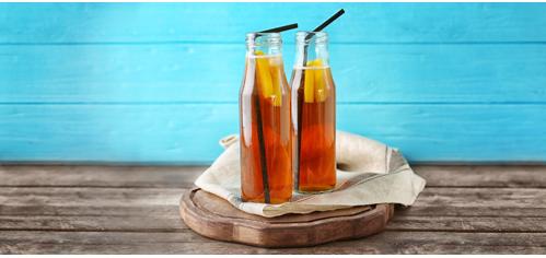 Tea bottles on wood table