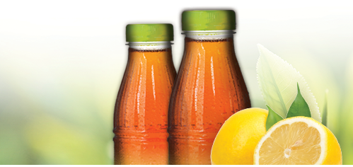 Tea bottles and fruit